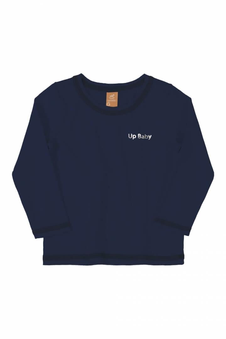 Camiseta Manga Longa em Poliéster com proteção UV Azul Marinho - Up Baby