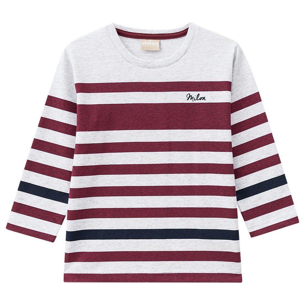Camiseta Manga Longa Masculina Mescla Listrada - Milon