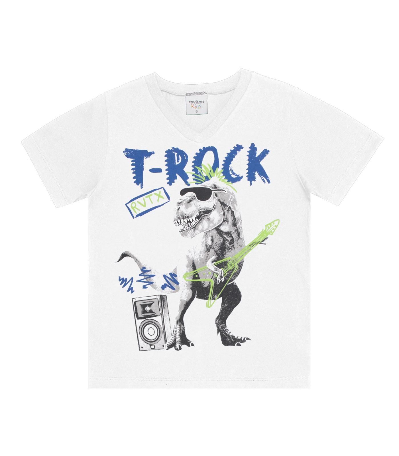 Camiseta Meia Malha Estampa T-Rock - Rovitex Kids