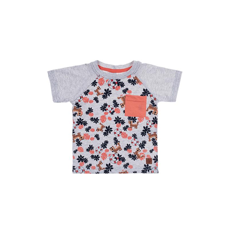 Camiseta Raglan Meia Malha Miniprint e Bolso - Ralakids