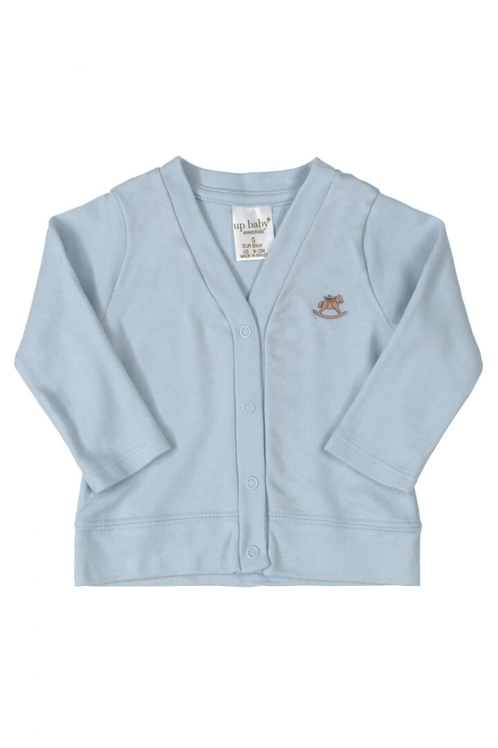 Casaco Manga Longa em Suedine Azul Claro - Up Baby