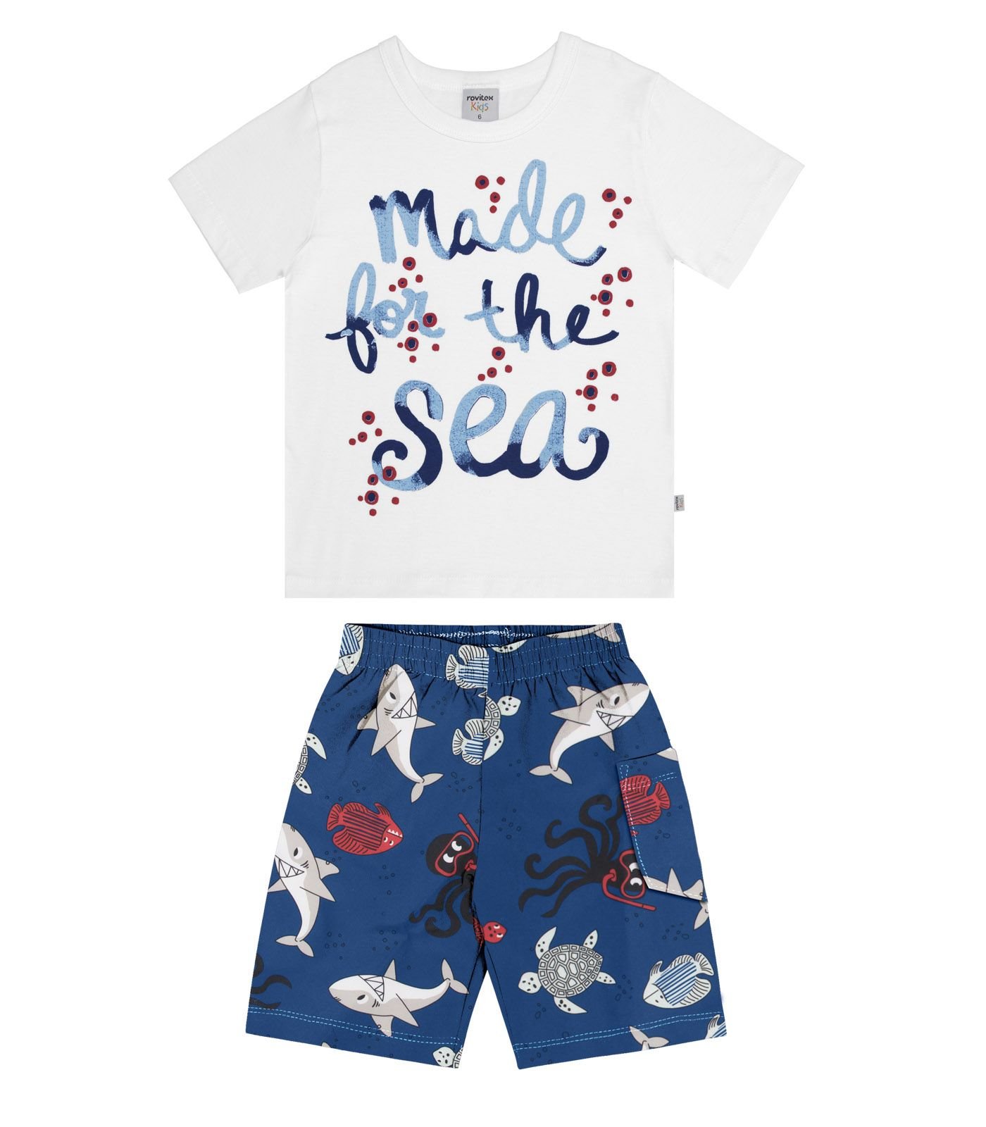 Conjunto Bermuda com Camiseta Microfibra / Meia Malha - Estampado