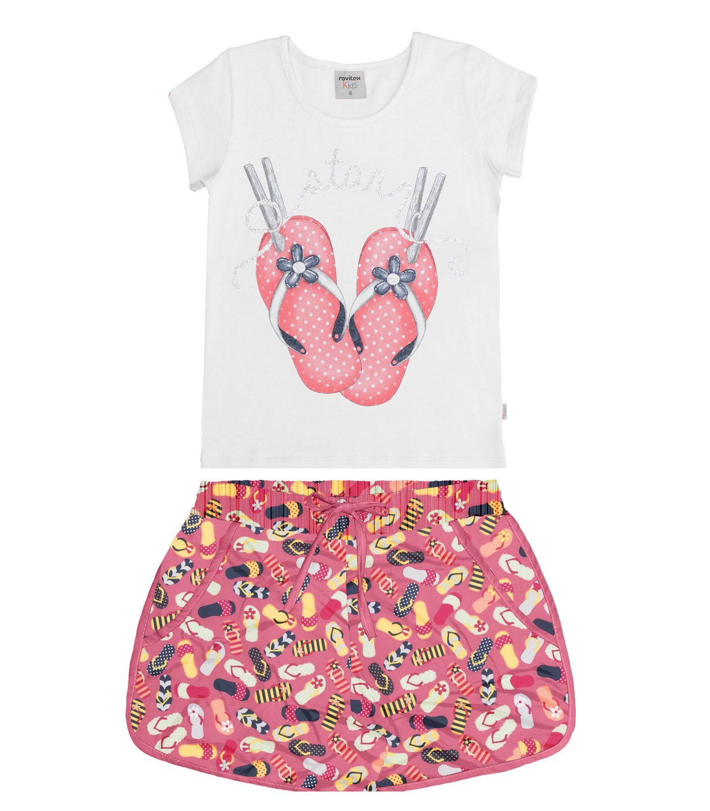 Conjunto Blusa Cotton Leve com Short Microfibra - Rovitex Kids