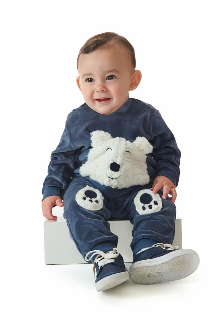 Conjunto Blusão e Calça em Plush Urso Azul Marinho - Up Baby
