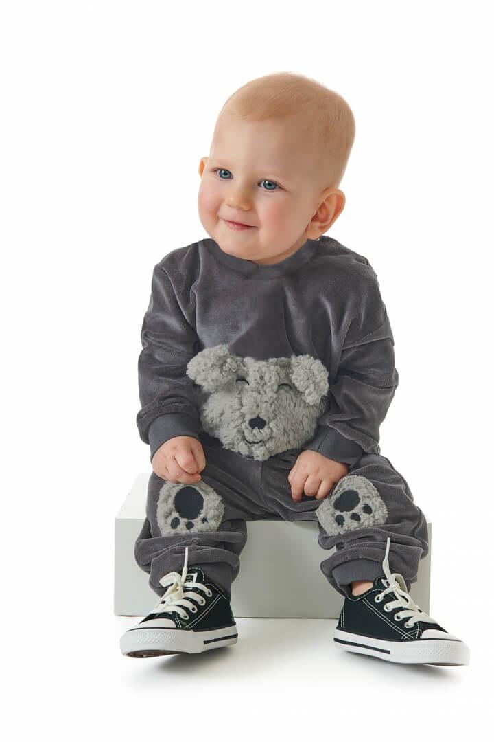 Conjunto Blusão e Calça em Plush Urso Chumbo - Up Baby