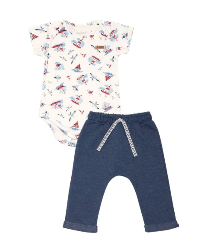 Conjunto Body Manga Curta Cotton e Calça Moletinho Jeans Barquinho - Nini & Bambini