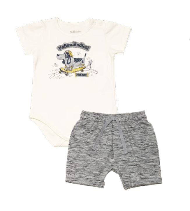 Conjunto Body Manga Curta em Cotton e Bermuda Cachorrinho - Nini & Bambini