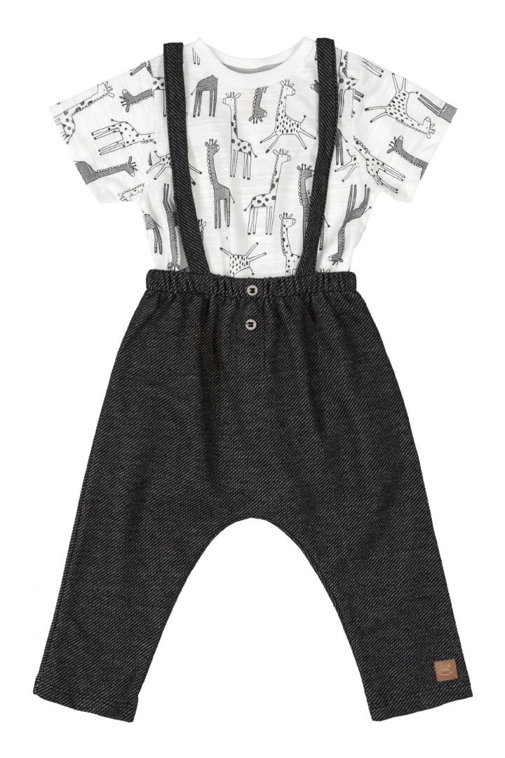 Conjunto Body Manga Curta em Suedine e Jardineira Girafa Branco - Up Baby