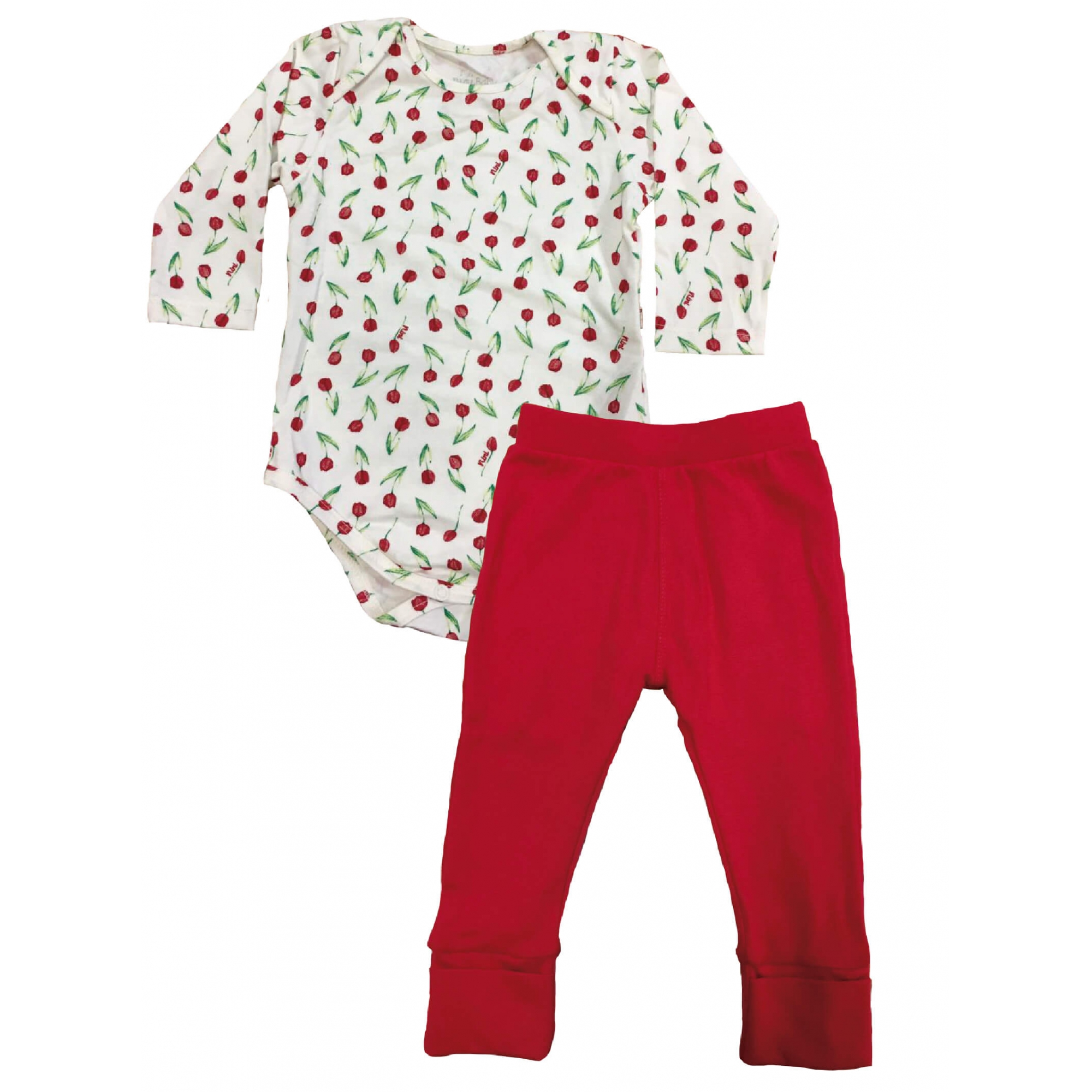 Conjunto Body Manga Longa e Calça em Cotton Flores Vermelho - Nini & Bambini
