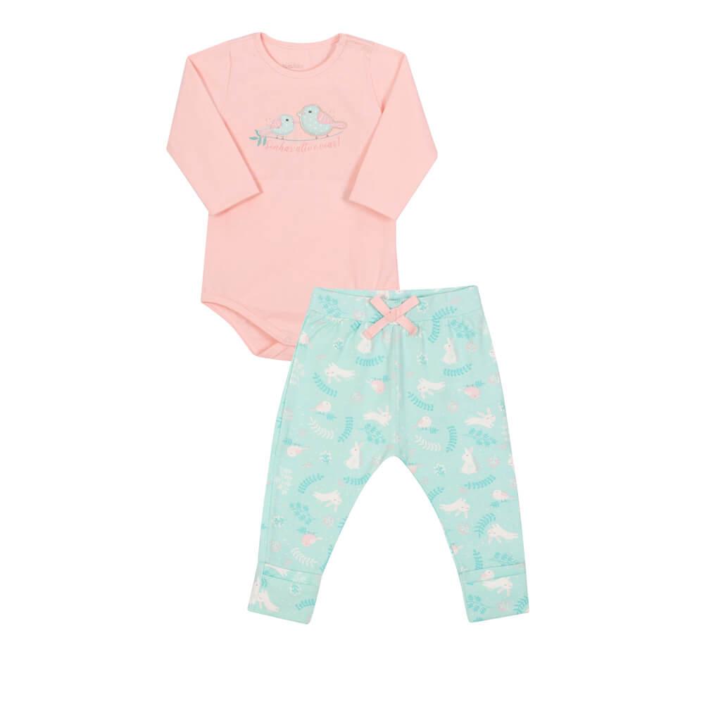 Conjunto Body Manga Longa e Calça em Cotton Passarinho Rosa - Nini & Bambini