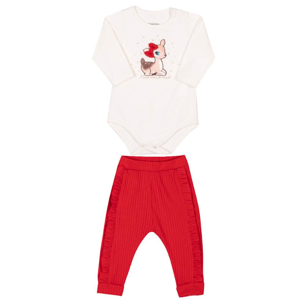 Conjunto Body Manga Longa em Cotton e Calça em Malha Floresta Vermelho - Nini & Bambini