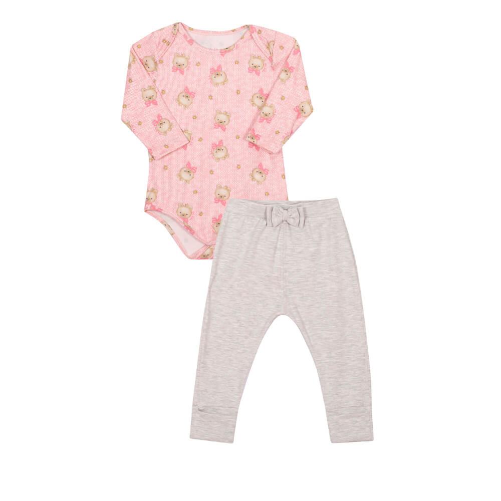 Conjunto Body Manga Longa em Malha Modal e Calça em Cotton Ursinhos Rosa - Nini & Bambini