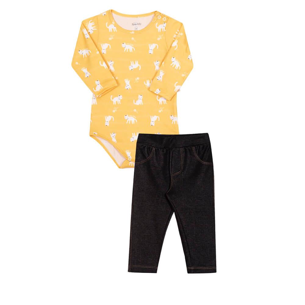 Conjunto Body Manga Longa em Malha Modal e Calça em Malha Jeans com Elastano Gatinhos Amarelo  - Nini & Bambini