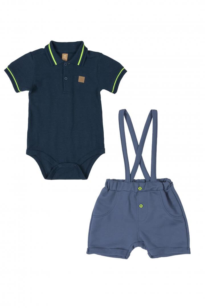 Conjunto Body Polo Piquet e Bermuda com Suspensório Moletom Azul Marinho - Up Baby