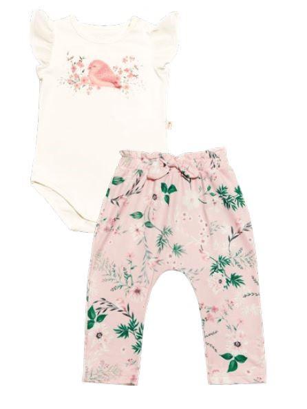 Conjunto Body Sem Manga e Calça em Cotton Flores - Nini & Bambini