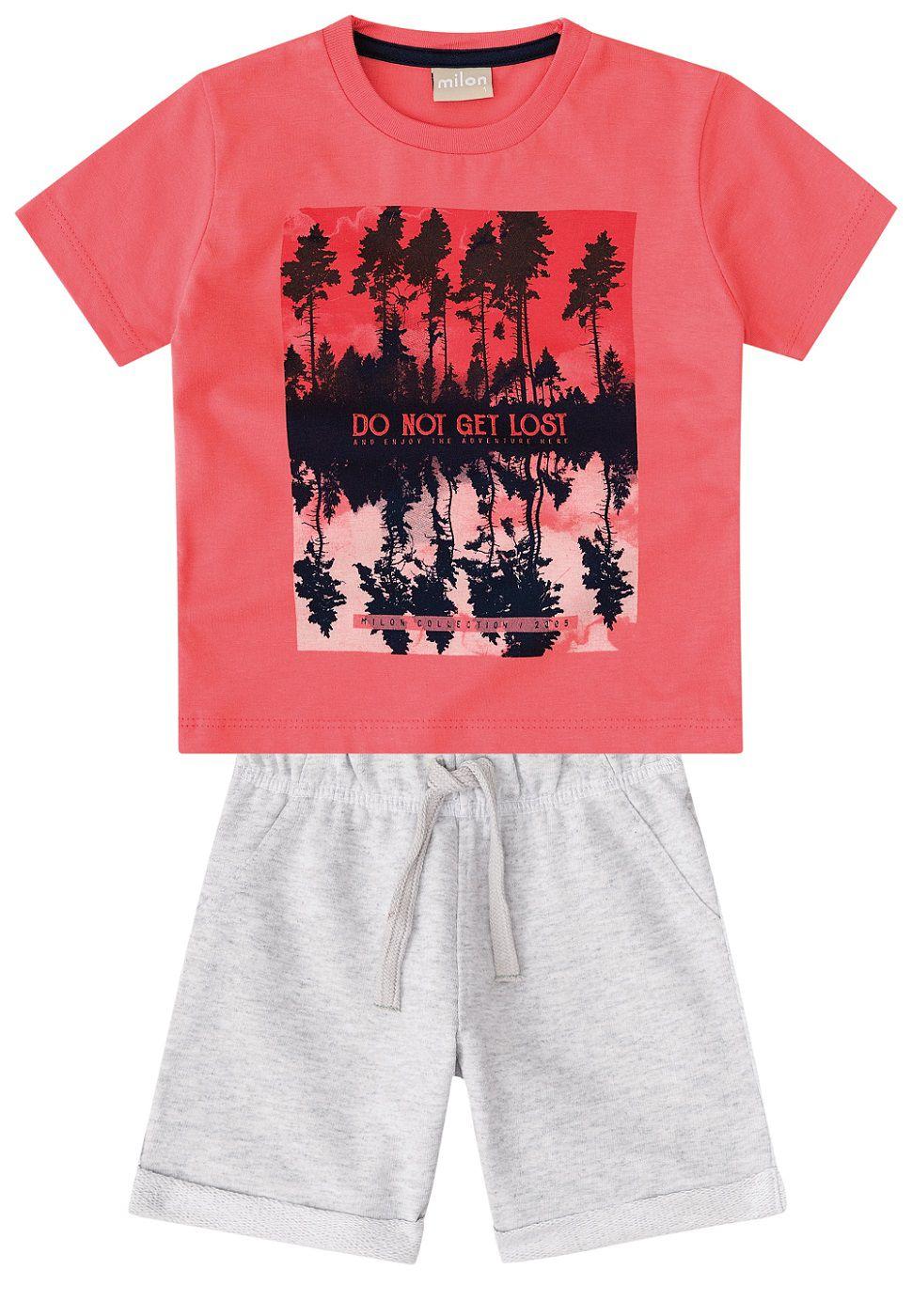 Conjunto Camiseta com Bermuda em Malha - Milon