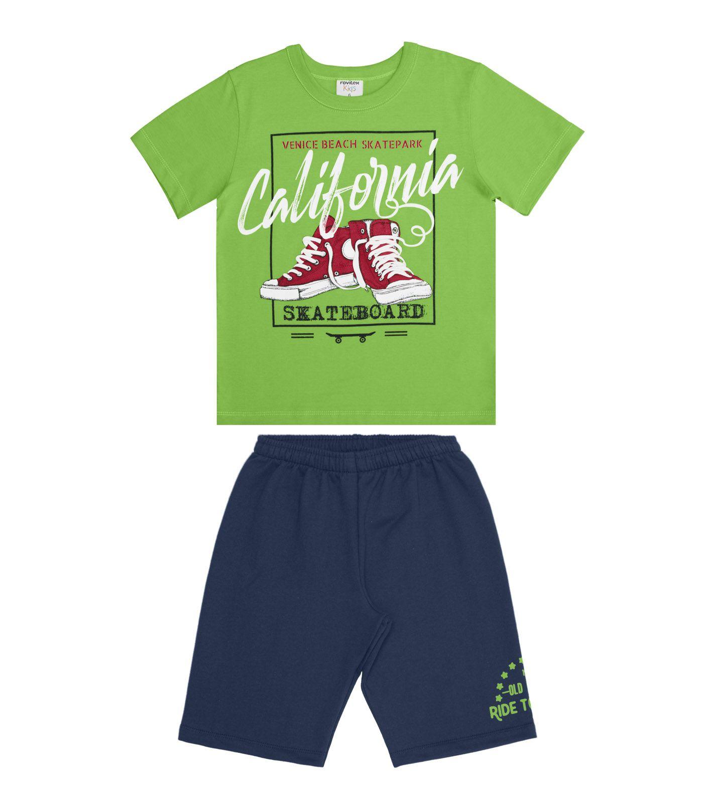 Conjunto Camiseta Meia Malha com Bermuda Moletom - Rovitex Kids