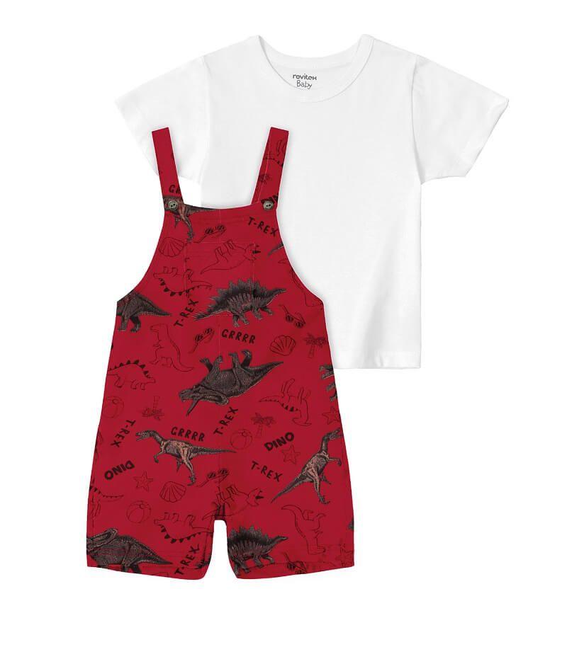 Conjunto Camiseta com Jardineira Meia Malha Dino - Rovitex Kids