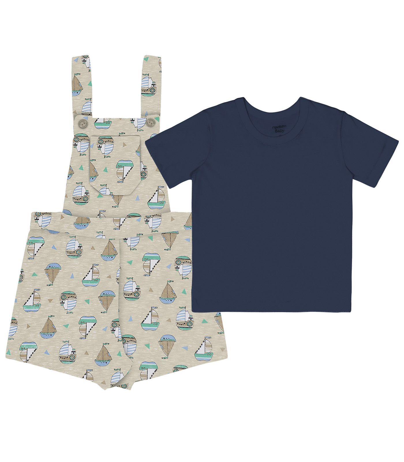 Bube - Roupas de Bebê e Infantil Conjunto Camiseta com Jardineira Meia  Malha   Moletinho Basic Rovitex Kids b4547c3208850