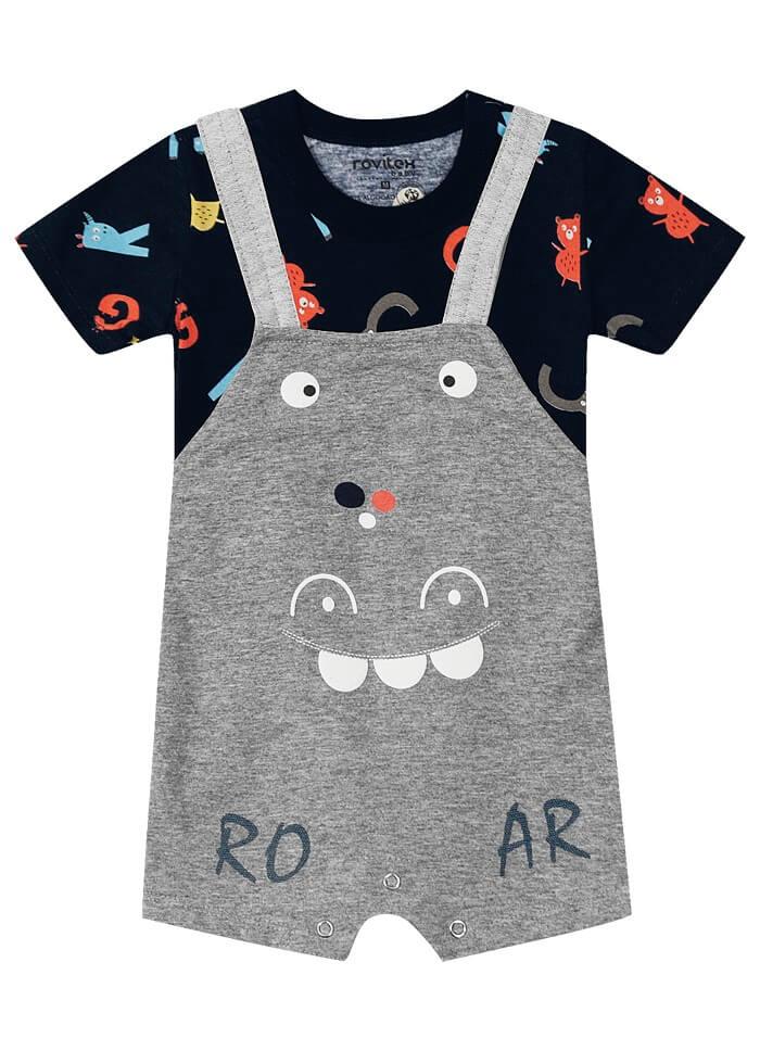 Conjunto Camiseta em Suedine com Jardineira Moletinho Letras - Rovitex Kids