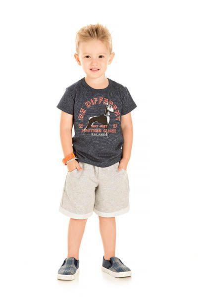 Conjunto Camiseta Malha Molinê e Bermuda Moletinho com Barra Dobrada - Ralakids