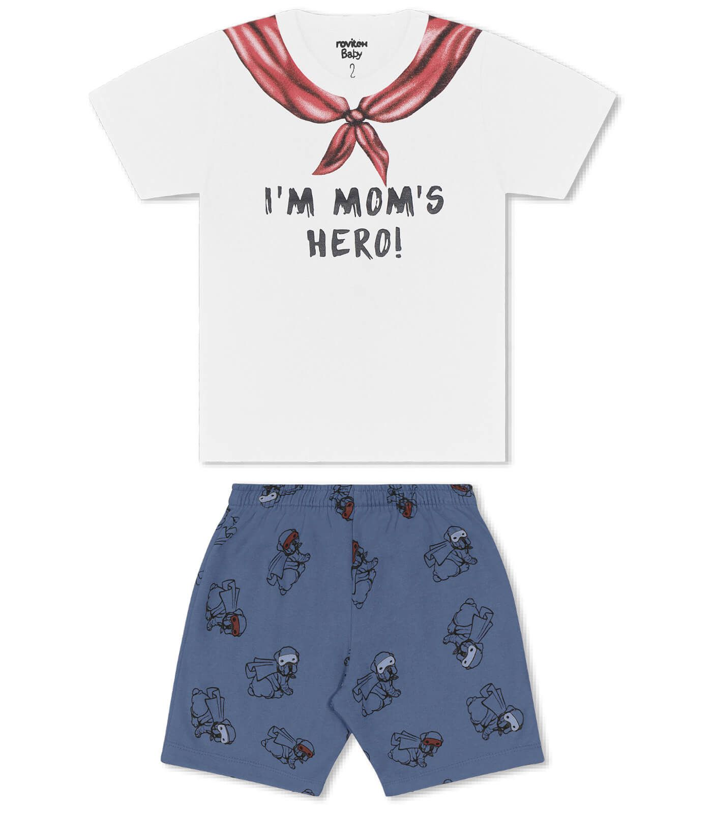 Conjunto Camiseta Meia Malha com Bermuda Moletinho Hero - Rovitex Kids