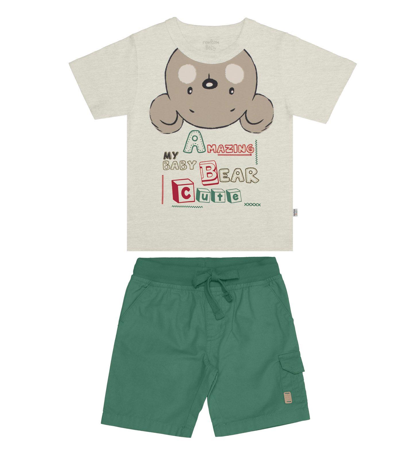 Conjunto Camiseta Meia Malha com Bermuda Sarja - Rovitex Kids