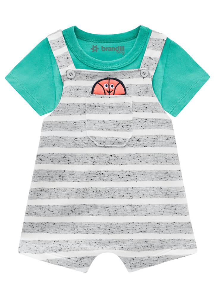 Conjunto Camiseta Meia Malha com Jardineira em Moletinho Fio Tinto - Brandili