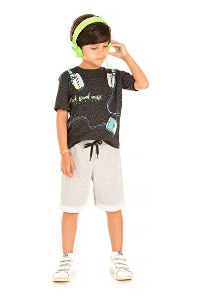 Conjunto Camiseta Molinê e Bermuda Moletinho Barra Virada
