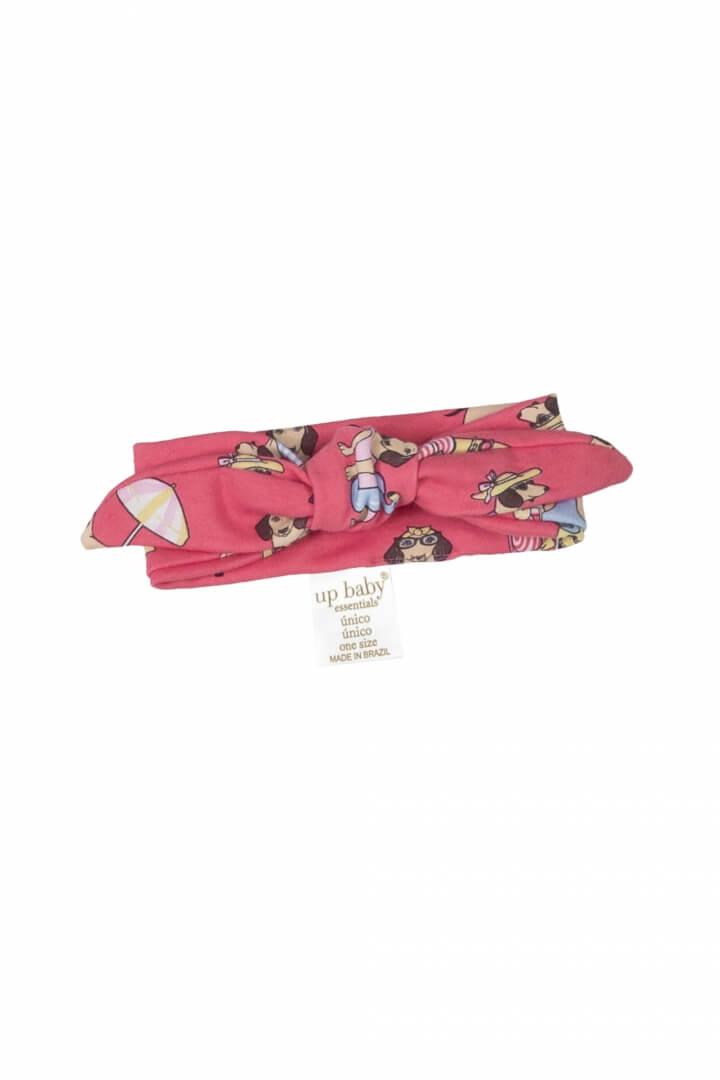 Faixa para Cabelo em Suedine Cachorrinhos Rosa Pink - Up Baby