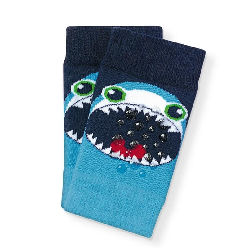 Joelheira Bebê Menino Tubarão Azul - Cia da Meia