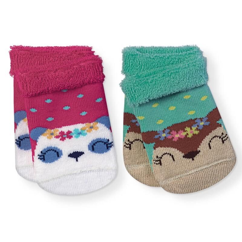 Kit 2 Meias Soft Recém-Nascido Menina Panda - Cia da Meia