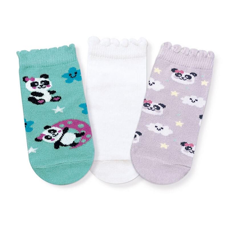 Kit 3 Meias Soquete Bebê Menina Panda - Cia da Meia