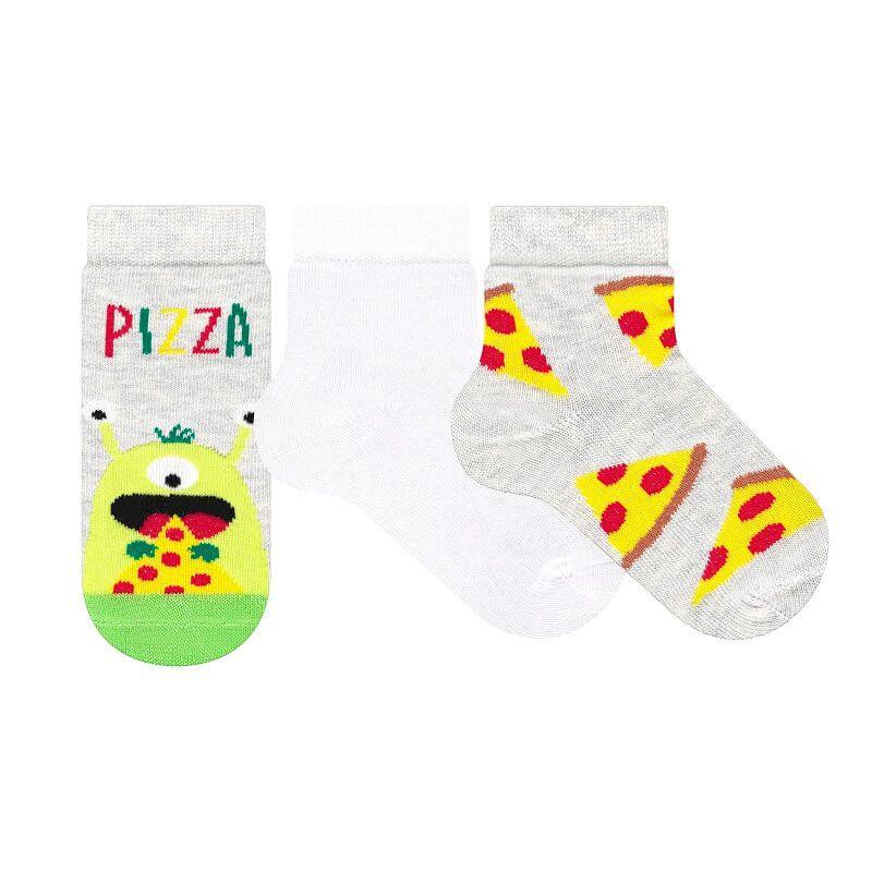 Kit 3 Meias Soquete Bebê Menino Pizza - Cia da Meia
