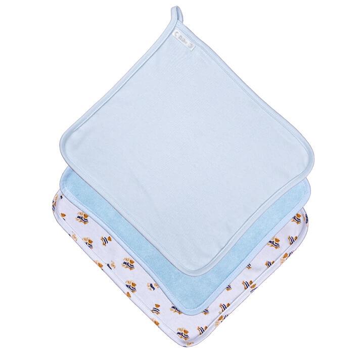 Kit 3 Paninhos de Boca Estampa Digital Ursinhos Azul Claro + Atoalhado + Suedine Liso - Bibe