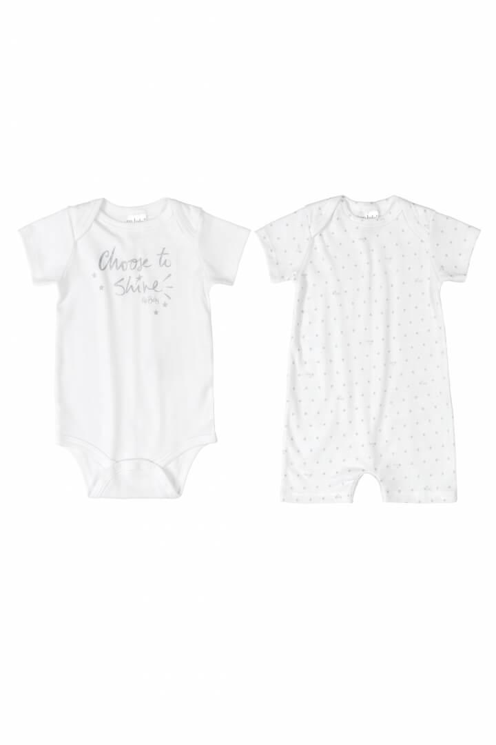 Kit Body Manga Curta e Macaquinho Manga Curta em Suedine Shine Branco - Up Baby