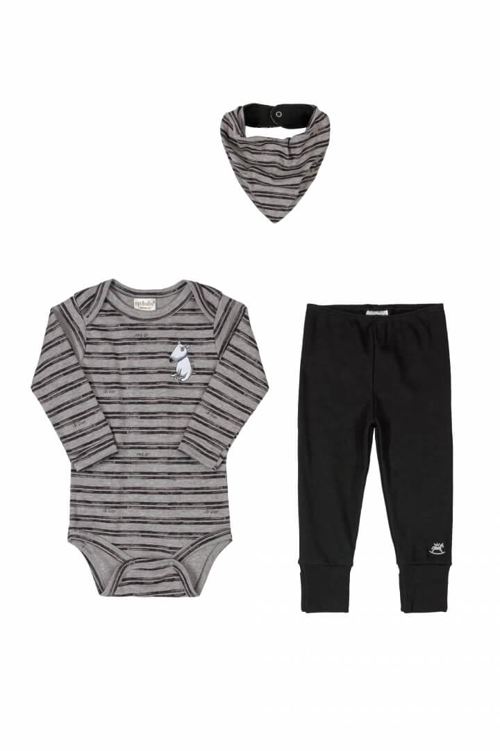 Kit Body Manga Longa, Calça e Babador em Suedine Listrado - Up Baby