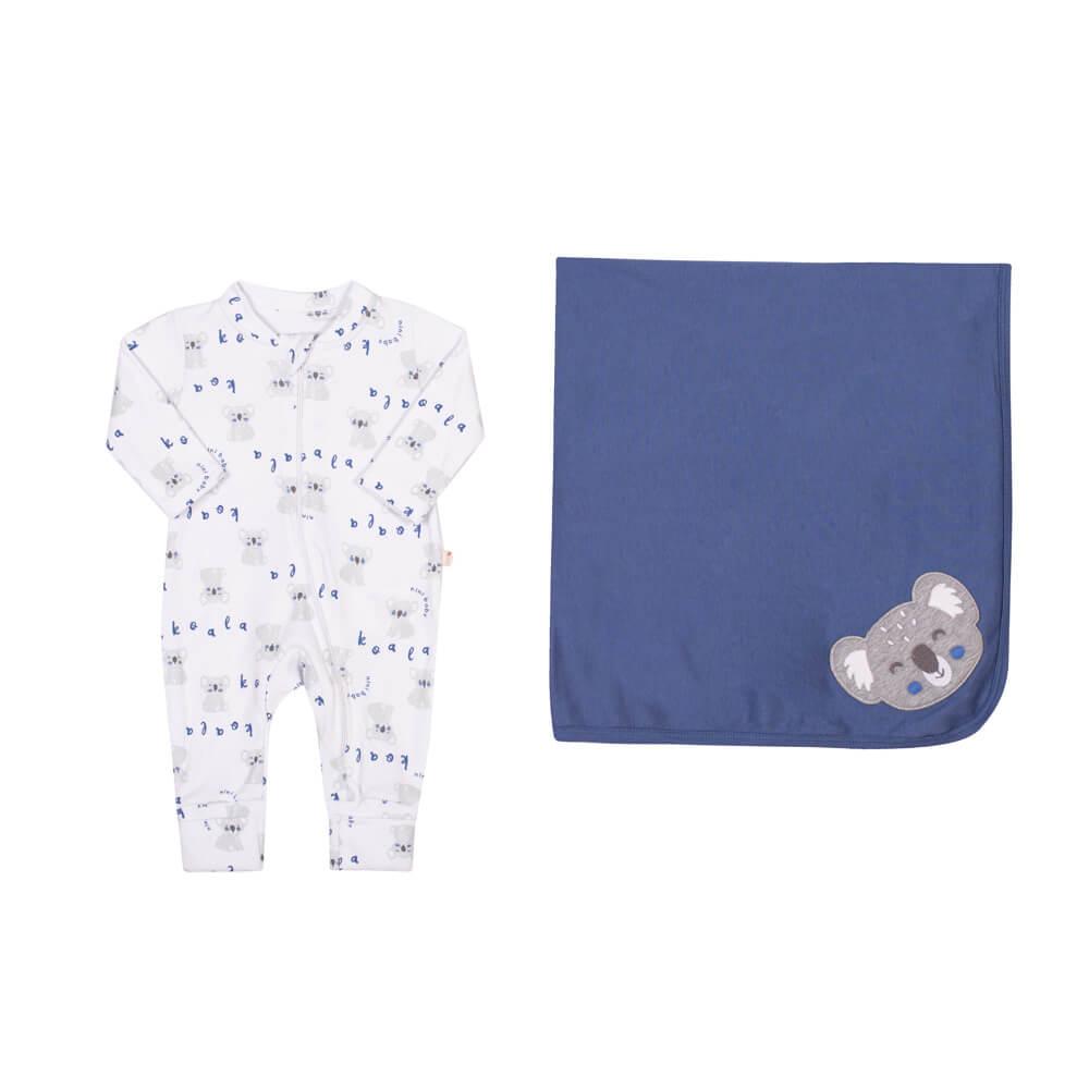 Kit Saída Maternidade com Macacão e Manta em Suedine Coala Azul - Nini & Bambini