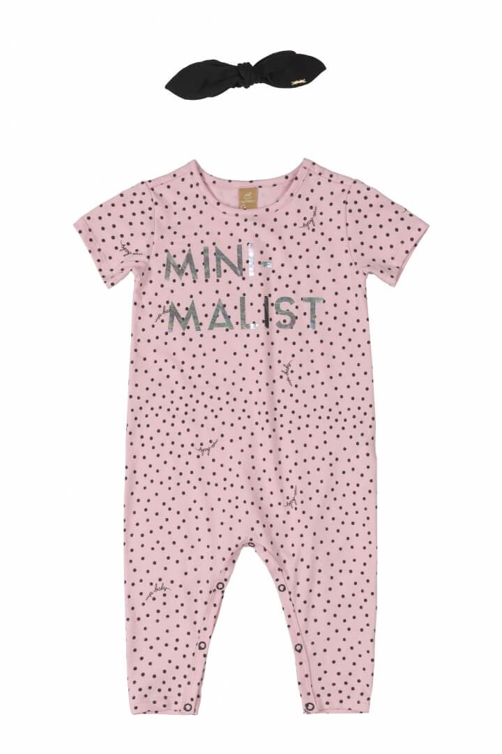 Macacão Manga Curta com Faixa em Cotton Minimalist Rosa Claro - Up Baby