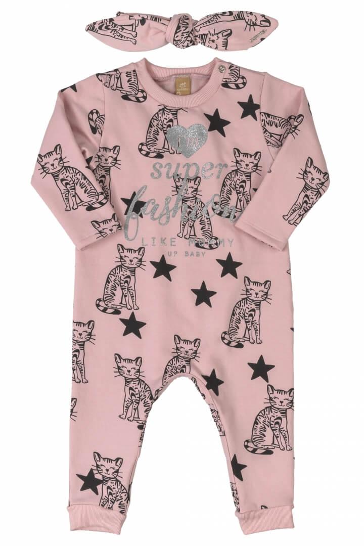 Macacão Manga Longa com Faixa de Cabelo em Molecotton Estrelas Rosa - Up Baby