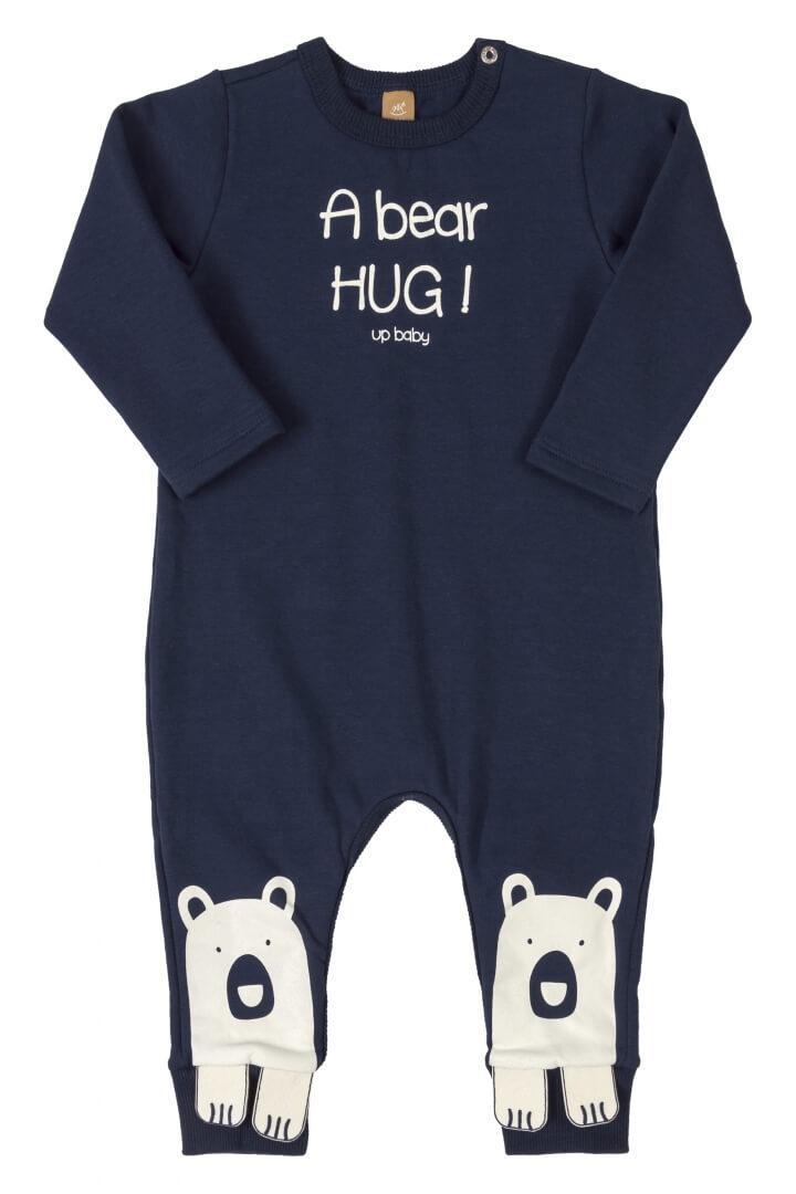 Macacão Manga Longa em Molecotton Bear Azul Escuro - Up Baby