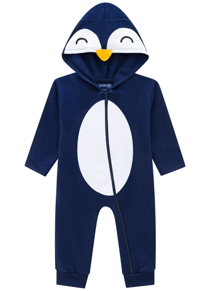Macacão Manga Longa em Moletom com Capuz Pinguim Azul Marinho - Brandili