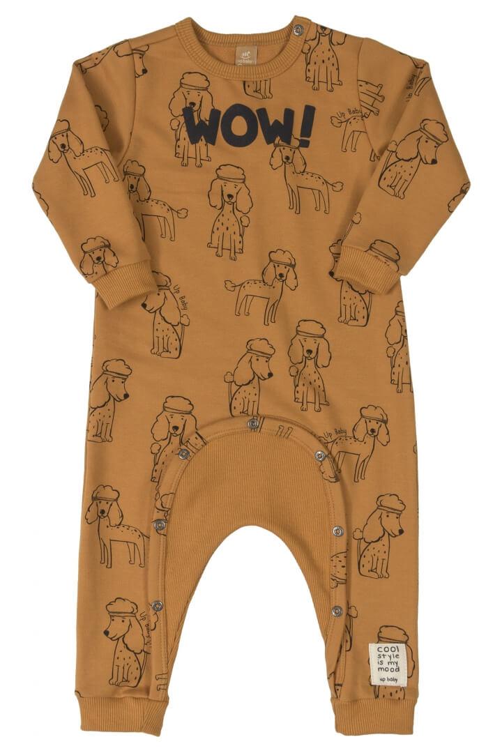 Macacão Manga Longa em Moletom Poodle Camel - Up Baby