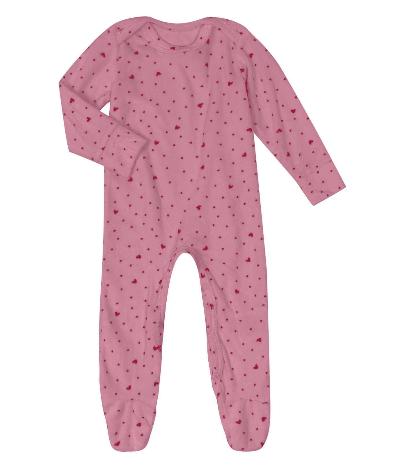 Macacão Manga Longa em Plush Corações Rosa Escuro - Rovitex Baby