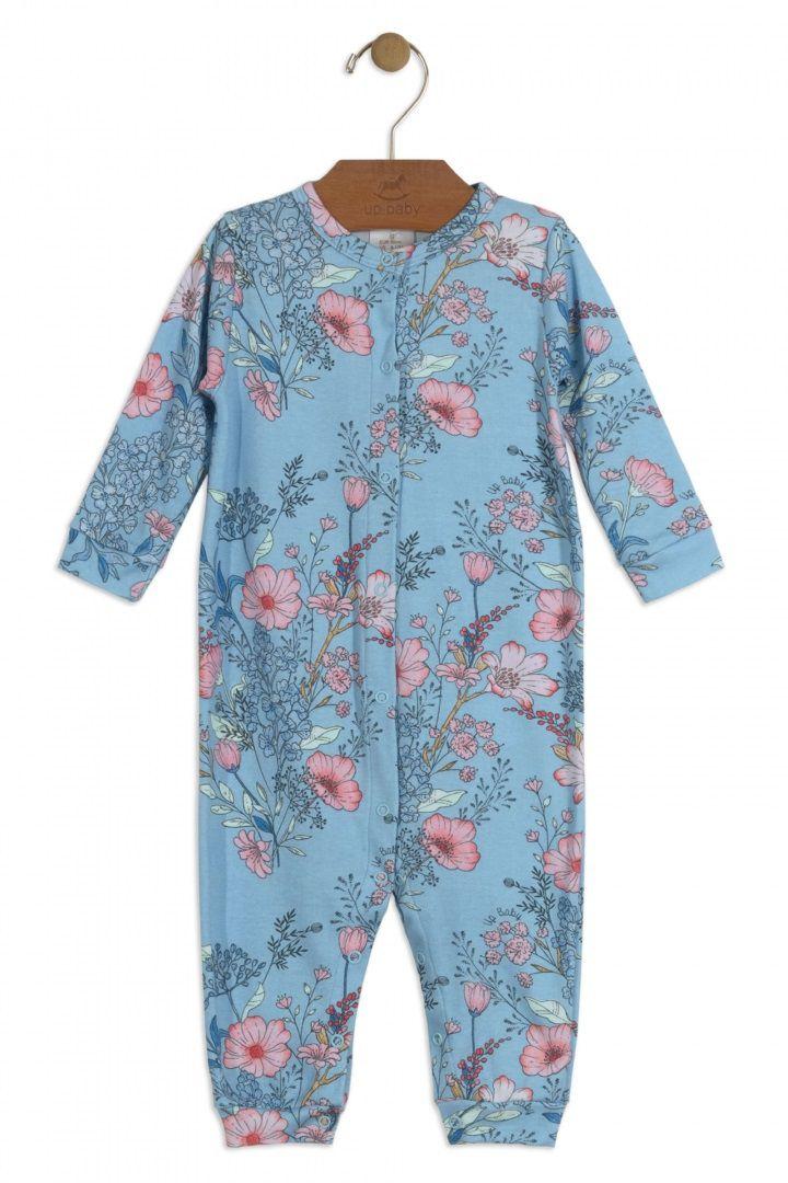 Macacão Manga Longa em Suedine Azul Estampa Flores - Up Baby