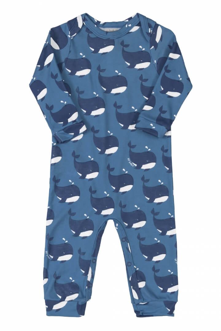 Macacão Manga Longa em Suedine Baleia Azul - Up Baby