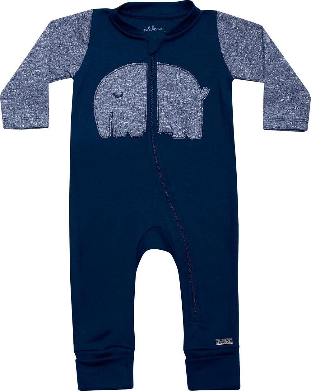 Macacão Manga Longa em Suedine com Zíper Elefante Azul Marinho - Nini & Bambini