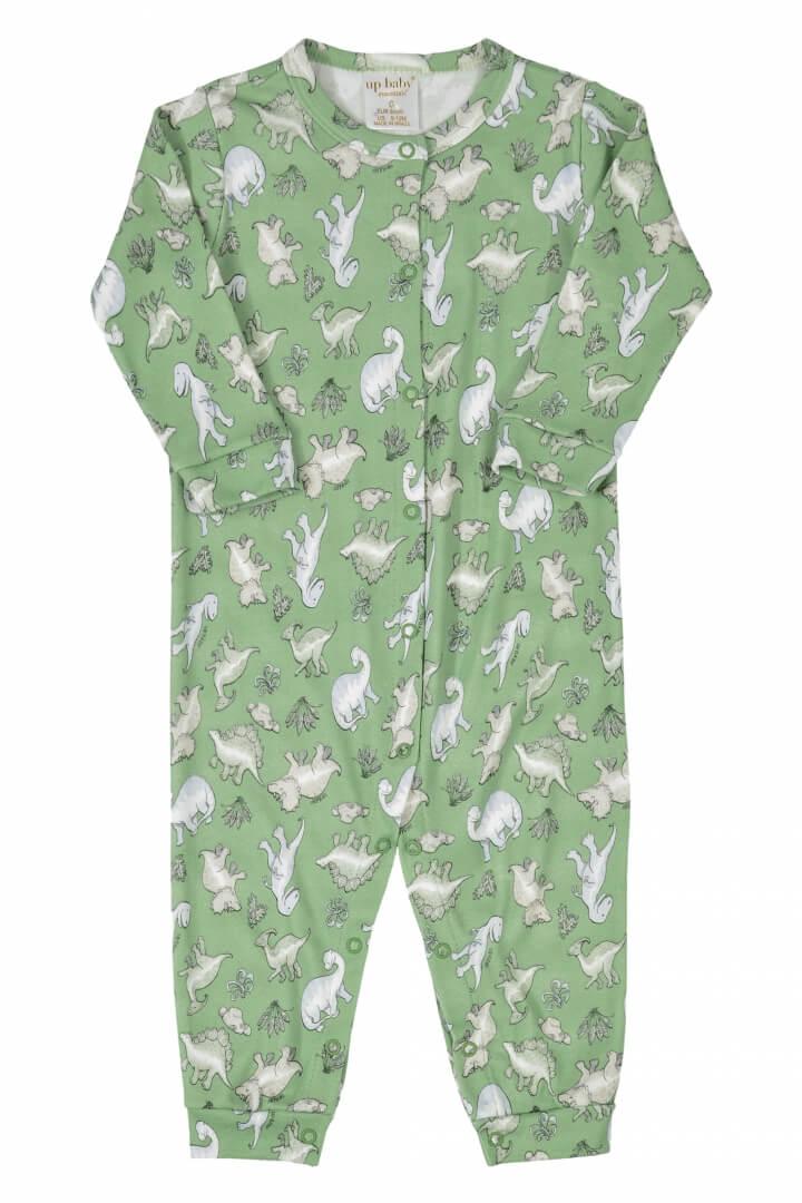 Macacão Manga Longa em Suedine Dinossauros (Verde) - Up Baby