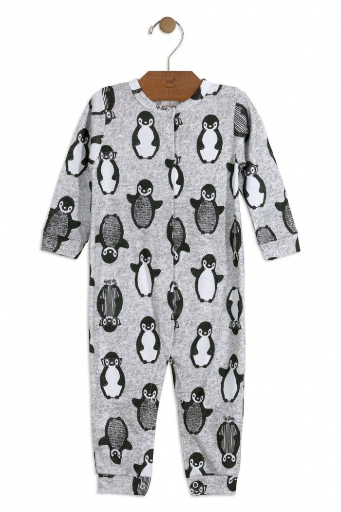 Macacão Manga Longa em Suedine Estampa Pinguim - Up Baby