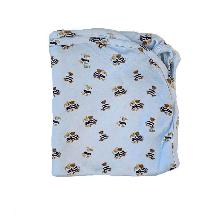 Manta em Algodão Egípcio Ursinhos Azul Claro - Bibe